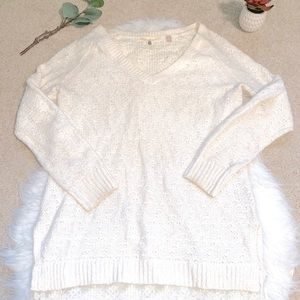 Anthropologie Cream knit sweater with lace trim